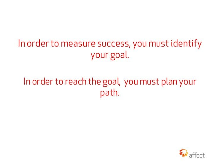 In order to measure success, you must identify                  your goal. In order to reach the goal, you must plan your ...
