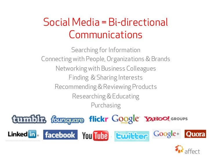Social Media = Bi-directional     Communications          Searching for InformationConnecting with People, Organizations &...