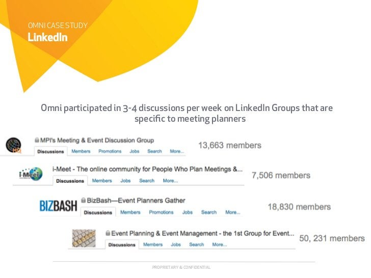 OMNI CASE STUDYLinkedIn   Omni participated in 3-4 discussions per week on LinkedIn Groups that are                       ...