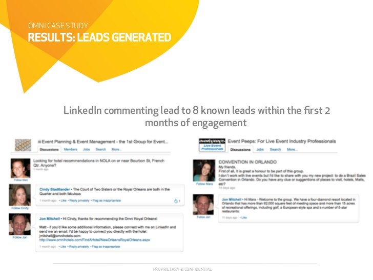 OMNI CASE STUDYRESULTS: LEADS GENERATED        LinkedIn commenting lead to 8 known leads within the first 2                ...