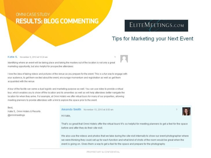 OMNI CASE STUDYRESULTS: BLOG COMMENTING                    PROPRIETARY & CONFIDENTIAL