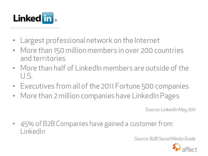 • Largest professional network on the Internet• More than 150 million members in over 200 countries   and territories• ...