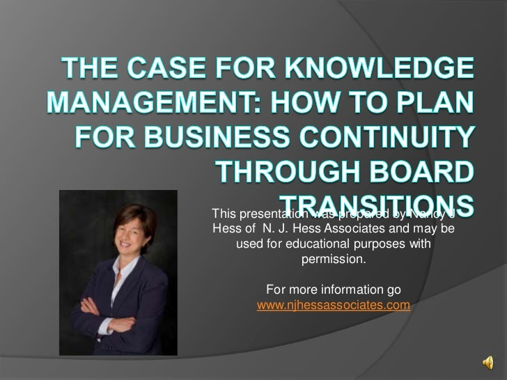 This presentation was prepared by Nancy JHess of N. J. Hess Associates and may be    used for educational purposes with   ...