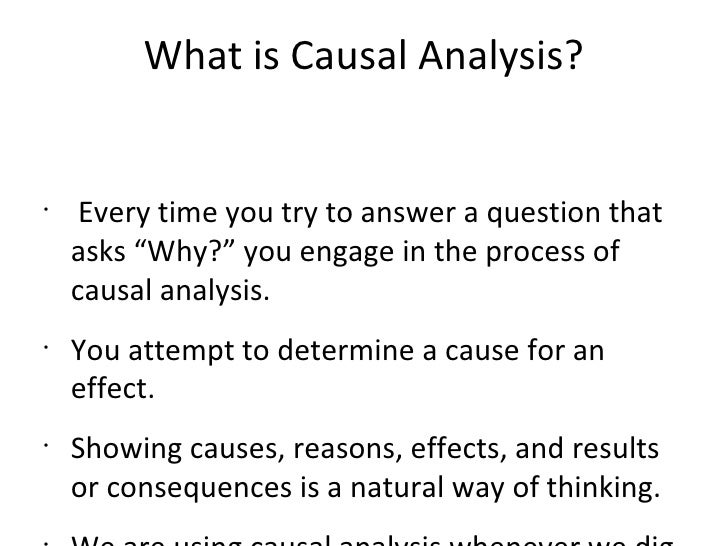 define causal analysis essay Notes on causal analysis writing causal analysis systematically examines the causes and/or the effects of an  once you have chosen the focus of your essay,.