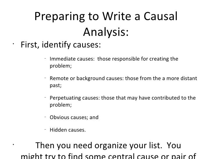 causal analysis essay thesis Cause and effect essay detailed writing guide including structure patterns,   causal chain pattern contains seven paragraphs: introduction, conclusion, and  five  than state your essay's thesis  without a solid ending, the earlier  analysis could fall flat, no matter how well written the ideas were restate.