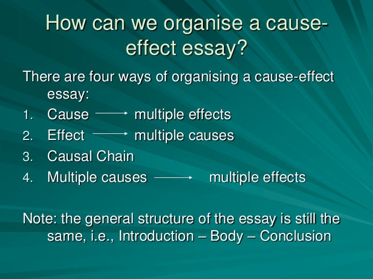 the introduction of a cause and effect essay should The average student usually experiences some difficulties with cause and effect essay topics this article aims to make this process easy and interesting.