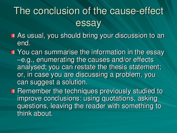 the cause essay Cause and effect essay topics list and examples of writing on essaybasicscom.