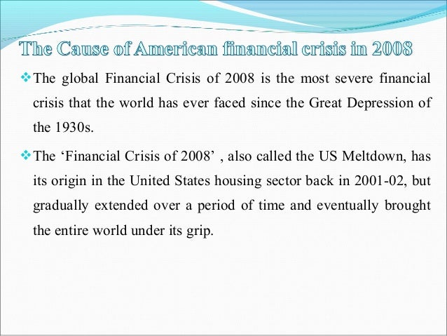 the cause of global financial crisis