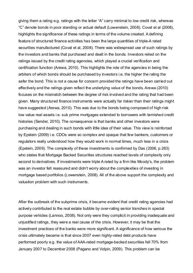 Subprime Crisis Essay Sample