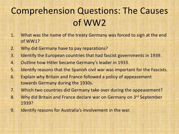 The causes of ww2 powerpoint presentation
