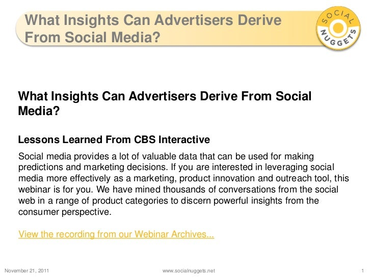 What Insights Can Advertisers Derive       From Social Media?    What Insights Can Advertisers Derive From Social    Media...