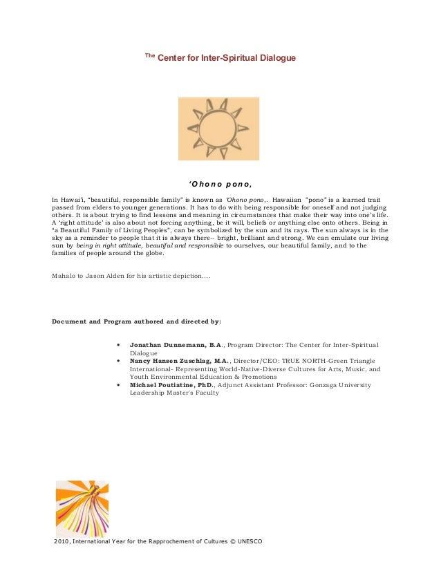 The                                     Center for Inter-Spiritual Dialogue                                             'O...