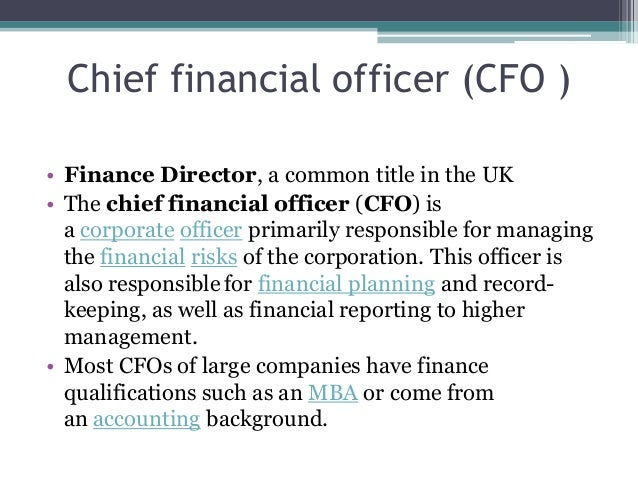 The CFO contemporary role
