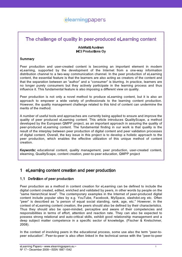 The challenge of quality in peer-produced eLearning content                                            Ari-Matti Auvinen  ...