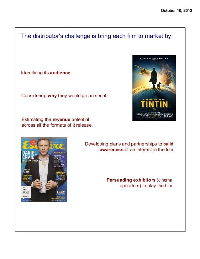 October 10, 2012  The distributor's challenge is bring each film to market by:  Identifying its audience.  Considering why...