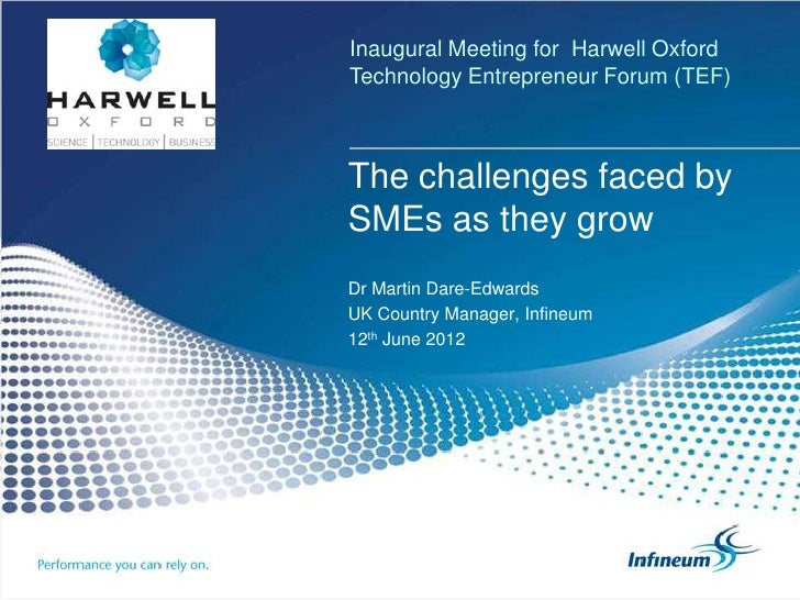 Inaugural Meeting for Harwell OxfordTechnology Entrepreneur Forum (TEF)The challenges faced bySMEs as they growDr Martin D...