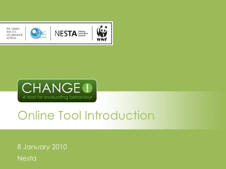 Online Tool Introduction 8 January 2010 Nesta