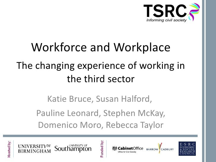 Workforce and Workplace The changing experience of working in the third sector Katie Bruce, Susan Halford,  Pauline Leonar...