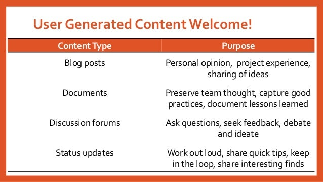User Generated Content Welcome!  ContentType  Purpose  Blog posts  Personal opinion, project experience, sharing of ideas ...