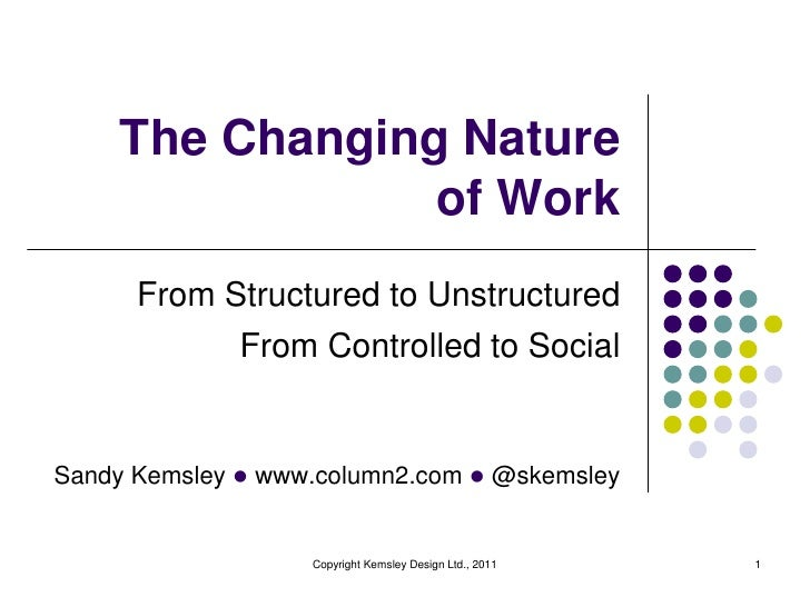 The Changing Natureof Work<br />From Structured to Unstructured<br />From Controlled to Social<br />Copyright Kemsley Desi...