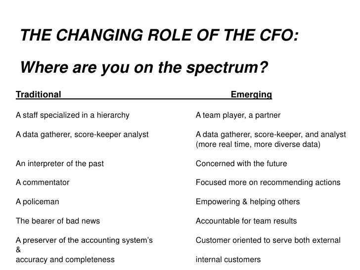 cfo changing roles Globally, the role of the chief financial officer (cfo), sometimes referred to as the finance director, has transformed over the past decade due to the global financial crisis, rise of big data and the impact of social and digital media traditionally, the cfo role entailed supervising,managing and.