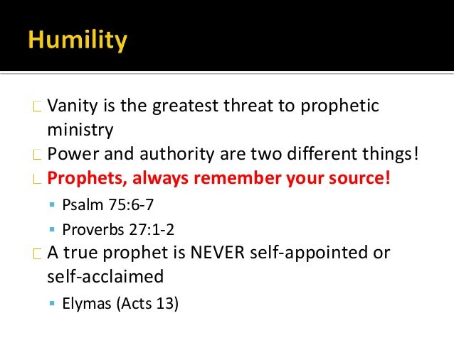 Vanity is the greatest threat to prophetic ministry Power and authority are two different things! Prophets, always remembe...