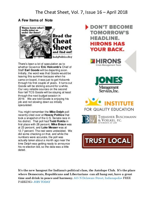 The Cheat Sheet, Vol. 7, Issue 16 – April 2018 It's the new hangout for Indiana's political class, the Antelope Club. It's...