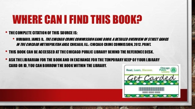 The Gang Book Chicago Crime Commission