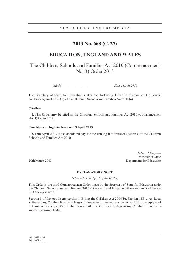 STATUTORY INSTRUMENTS                                 2013 No. 668 (C. 27)                  EDUCATION, ENGLAND AND WALES T...