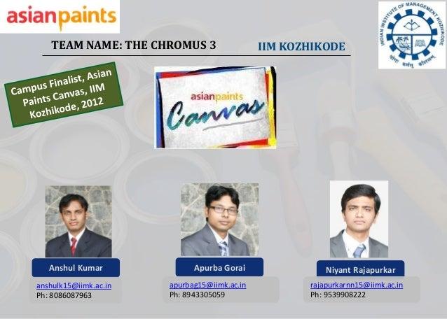 TEAM NAME: THE CHROMUS 3                   IIM KOZHIKODE   Anshul Kumar              Apurba Gorai                Niyant Ra...