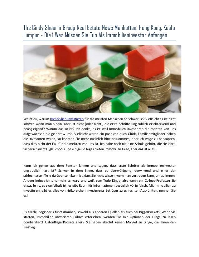 The Cindy Shearin Group Real Estate News Manhattan, Hong Kong, Kuala Lumpur - Die 1 Was Müssen Sie Tun Als Immobilieninves...