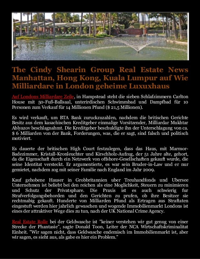 The Cindy Shearin Group Real Estate News Manhattan, Hong Kong, Kuala Lumpur auf Wie Milliardare in London geheime Luxuxhau...