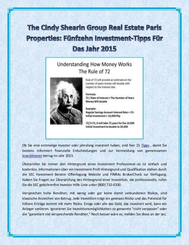 Ob Sie eine erstmalige Investor oder jahrelang investiert haben, sind hier 15 Tipps , damit Sie bestens informiert finanzi...