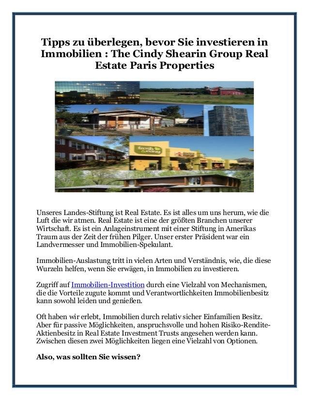 Tipps zu überlegen, bevor Sie investieren in Immobilien : The Cindy Shearin Group Real Estate Paris Properties Unseres Lan...
