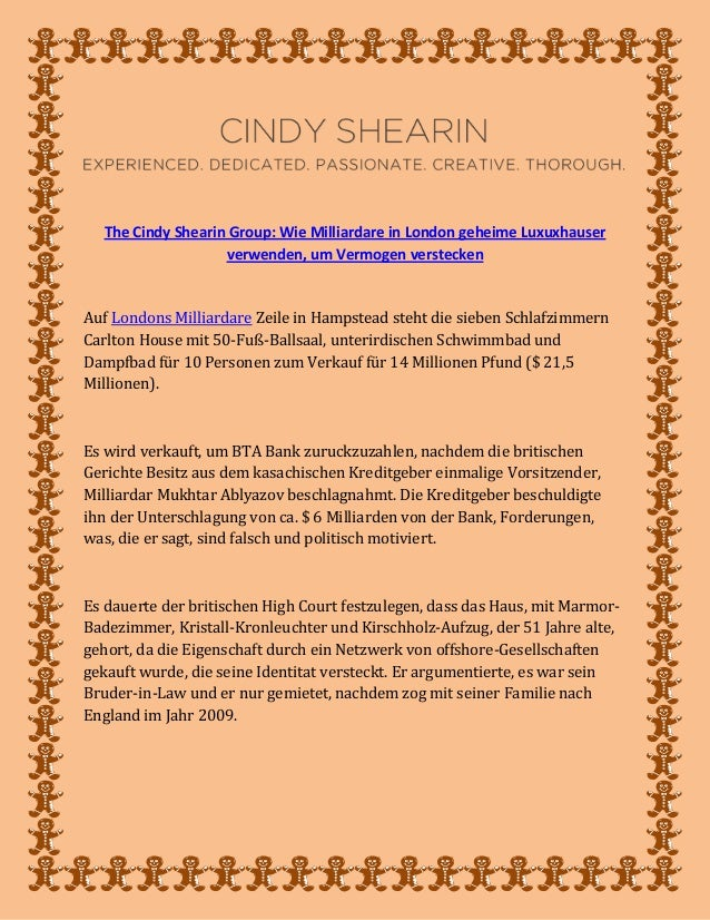 The Cindy Shearin Group: Wie Milliardare in London geheime Luxuxhauser verwenden, um Vermogen verstecken Auf Londons Milli...