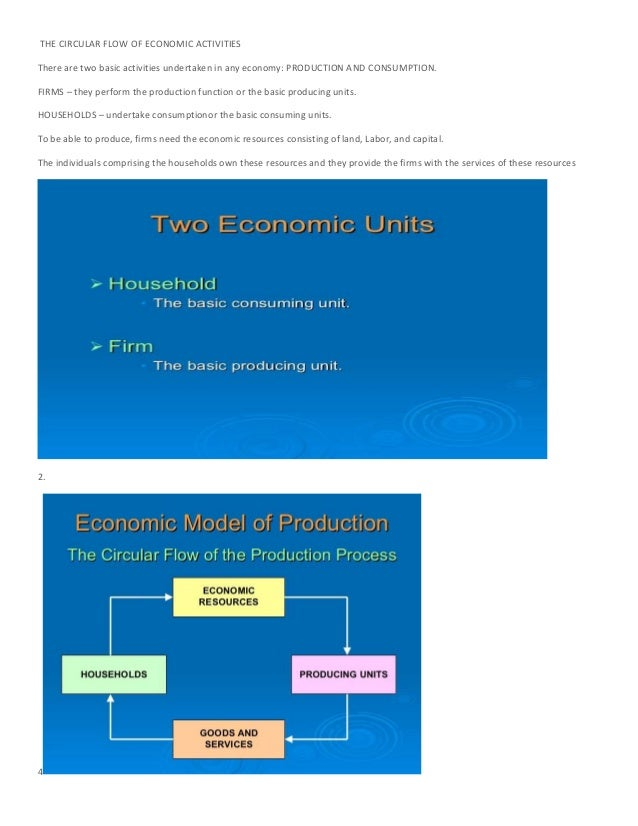 THE CIRCULAR FLOW OF ECONOMIC ACTIVITIESThere are two basic activities undertaken in any economy: PRODUCTION AND CONSUMPTI...