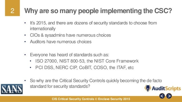 The CIS Critical Security Controls the International Standard for Def…