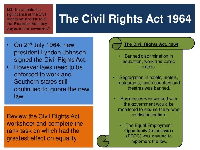 The Civil Rights Voting Act – Civil Rights Worksheet