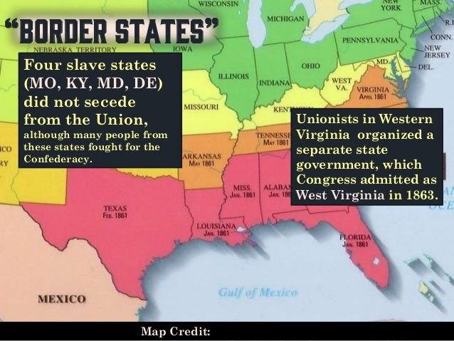 The Civil War US History - Us slave states map
