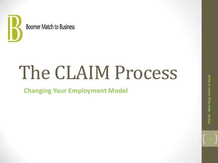 The CLAIM Process                                 BM2B - Matching Talent to NeedChanging Your Employment Model            ...