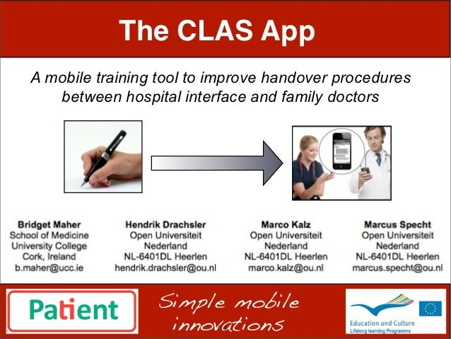The CLAS AppA mobile training tool to improve handover procedures   between hospital interface and family doctors         ...