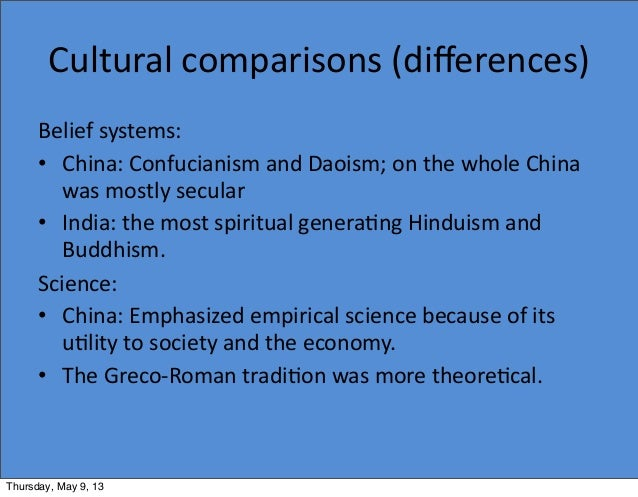 cultural comparisons of india and china Innumerable analysts have predicted that the twenty-first century will belong to china, yet it seems worth considering whether the current millennium will not belong.