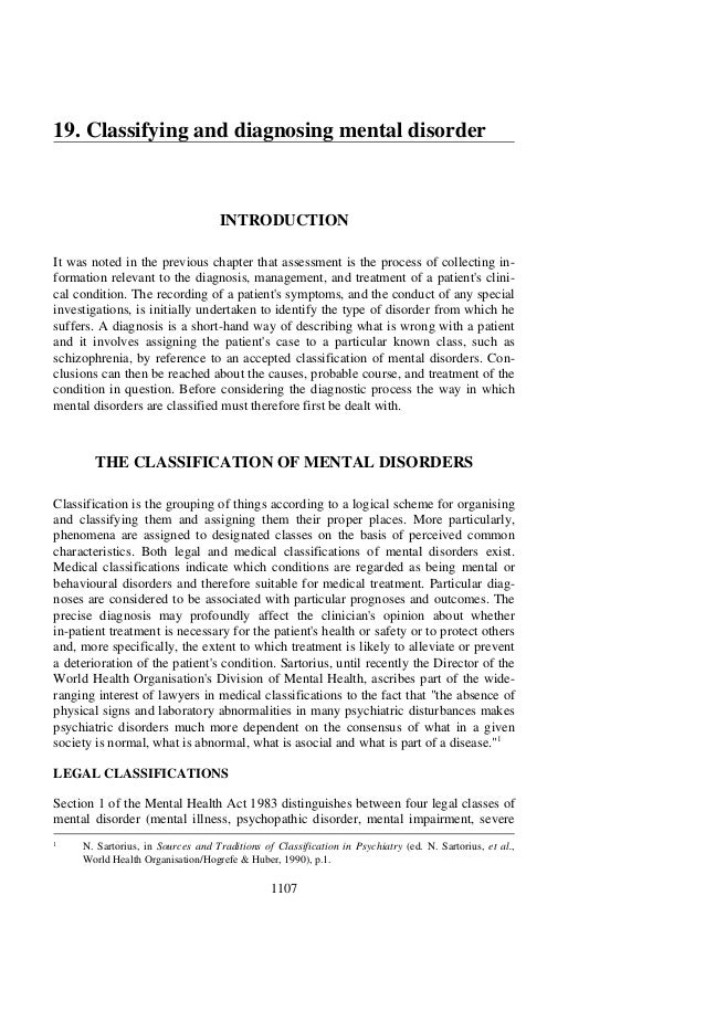 19. Classifying and diagnosing mental disorder                                    INTRODUCTIONIt was noted in the previous...