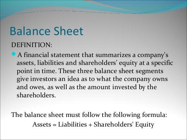 The classified balance sheet – Components of Balance Sheet