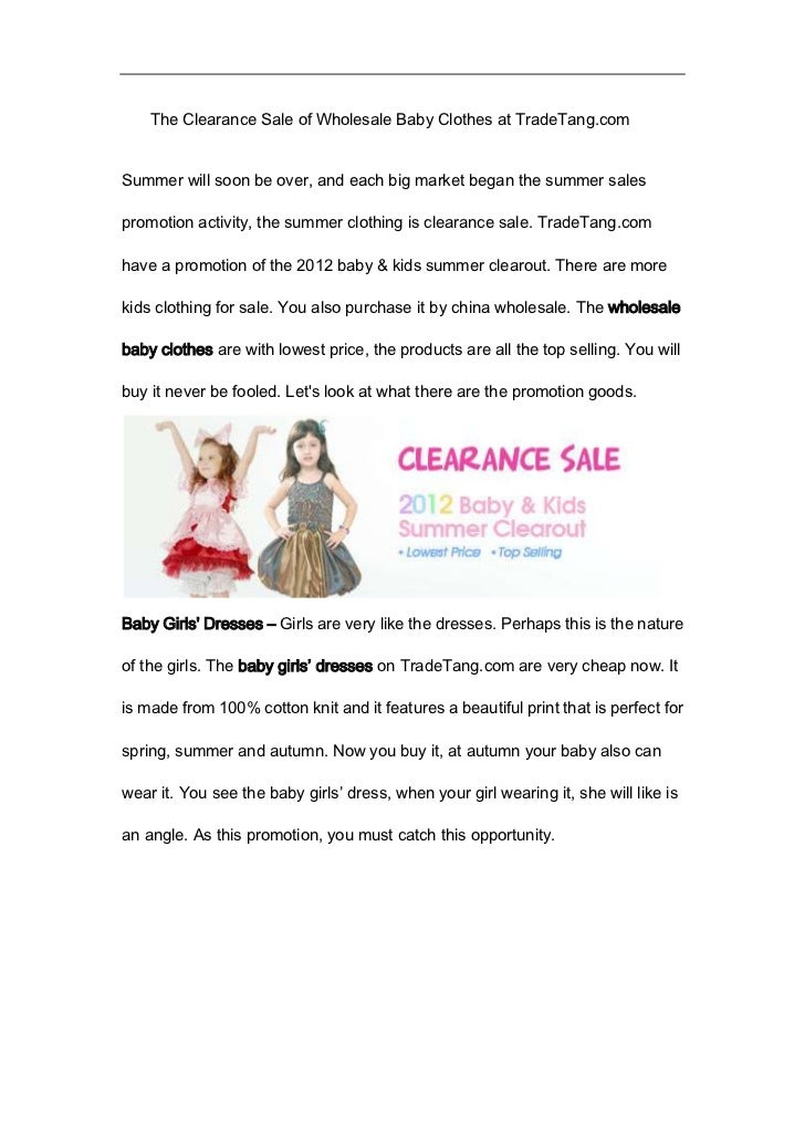 The Clearance Sale of Wholesale Baby Clothes at TradeTang.comSummer will soon be over, and each big market began the summe...
