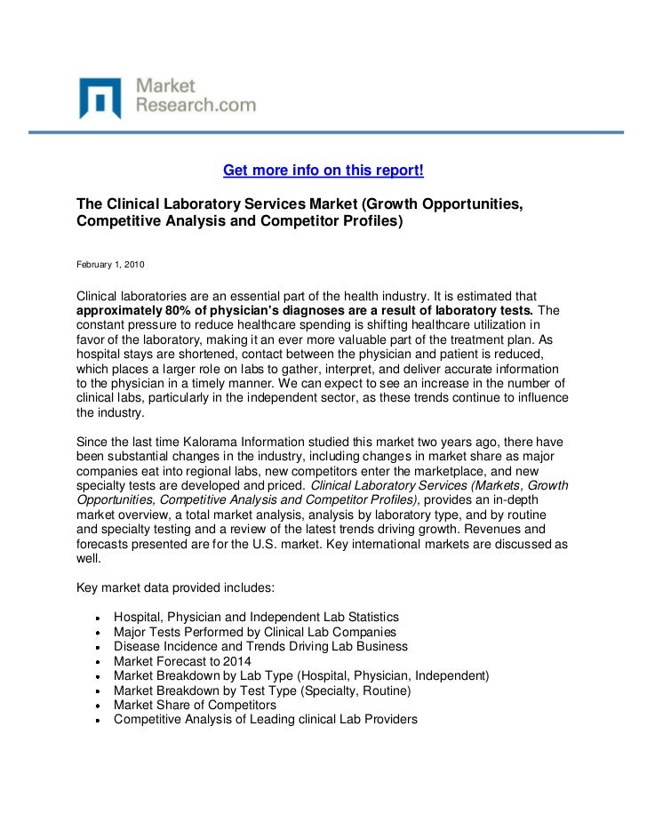 Get more info on this report!The Clinical Laboratory Services Market (Growth Opportunities,Competitive Analysis and Compet...