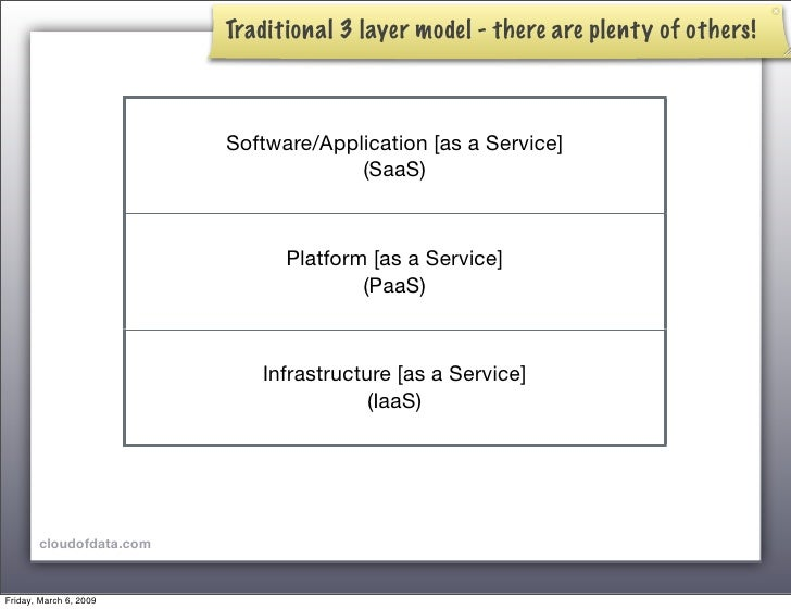 Traditional 3 layer model - there are plenty of others!                             Software/Application [as a Service]   ...