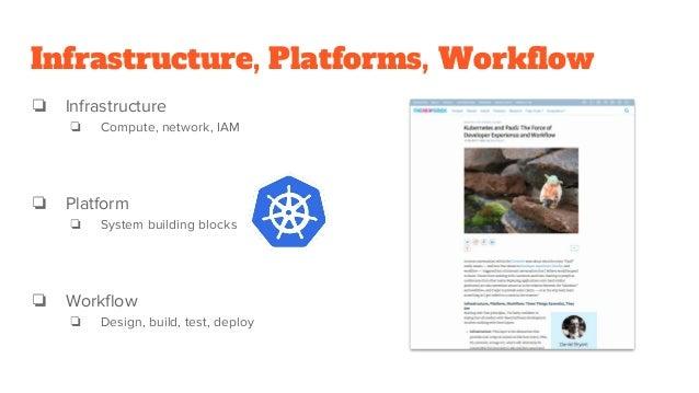 Infrastructure, Platforms, Workflow ❏ Infrastructure ❏ Compute, network, IAM ❏ Platform ❏ System building blocks ❏ Workflo...