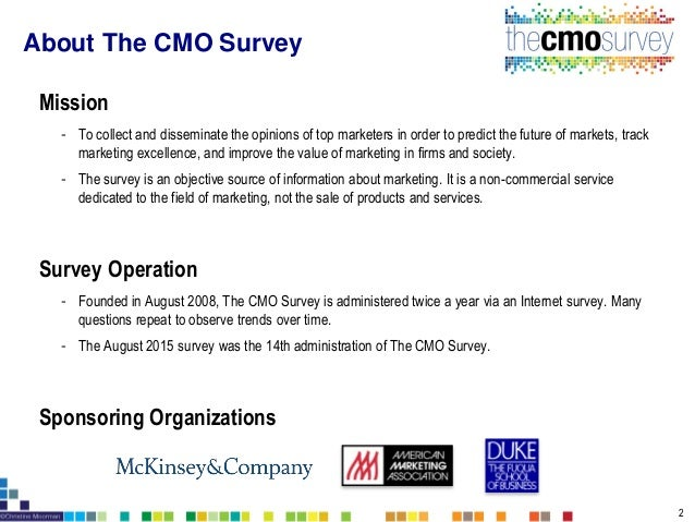 Survey Sample - 2885 top U.S. marketers at Fortune 1000, Forbes Top 200, and top marketers who are AMA Members or Duke Uni...