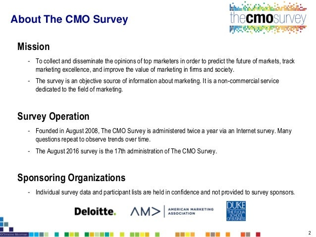 The CMO Survey Highlights and Insights August 2016 Slide 2